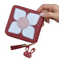 wallet Ladies Short Zipper Wallet Flower Tassel Day Purse Female Mini Wallet -