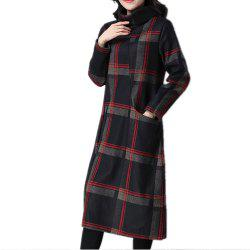 Women's Dress Long Sleeve Turtle Neck Checkered Pattern Loose Dress -