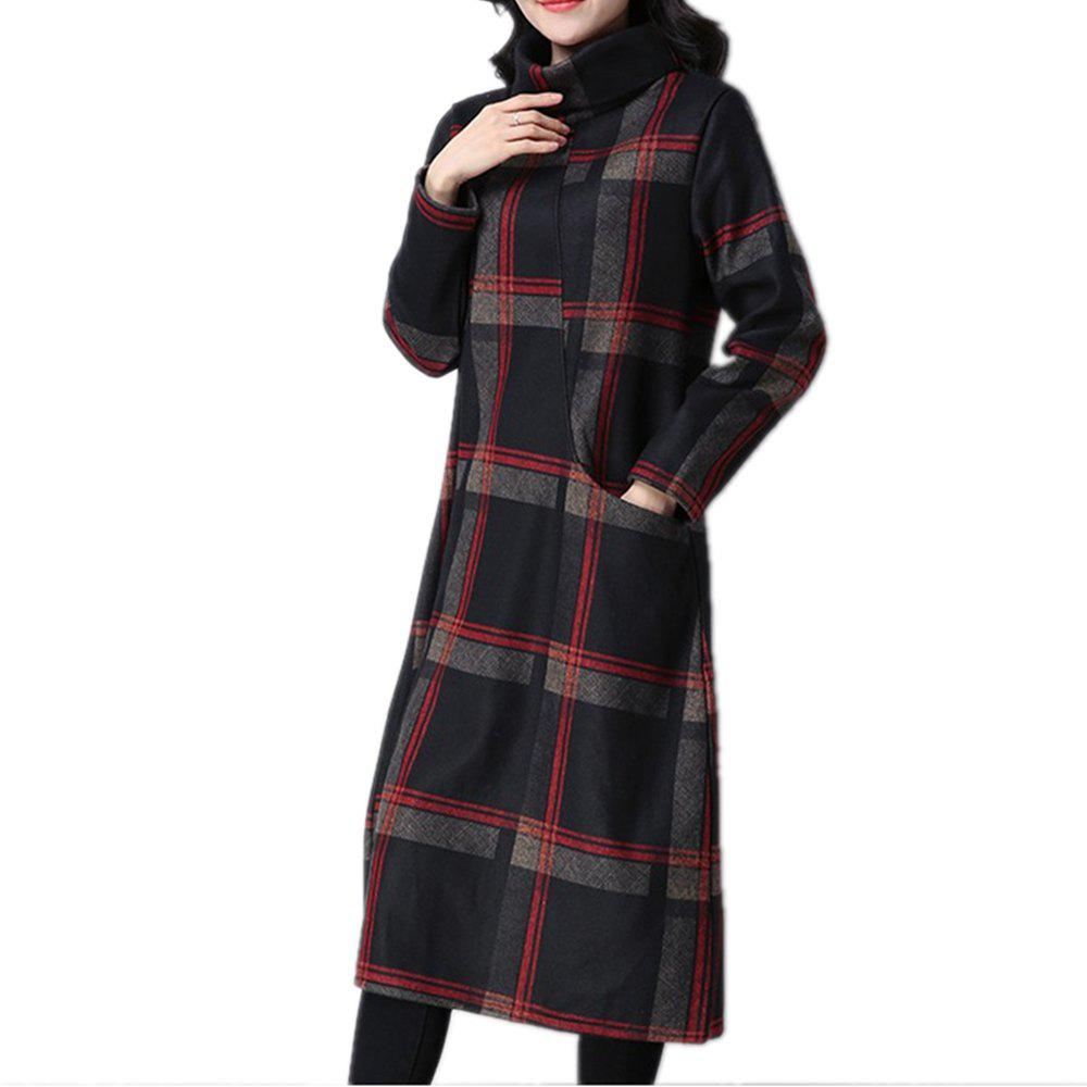 Online Women's Dress Long Sleeve Turtle Neck Checkered Pattern Loose Dress