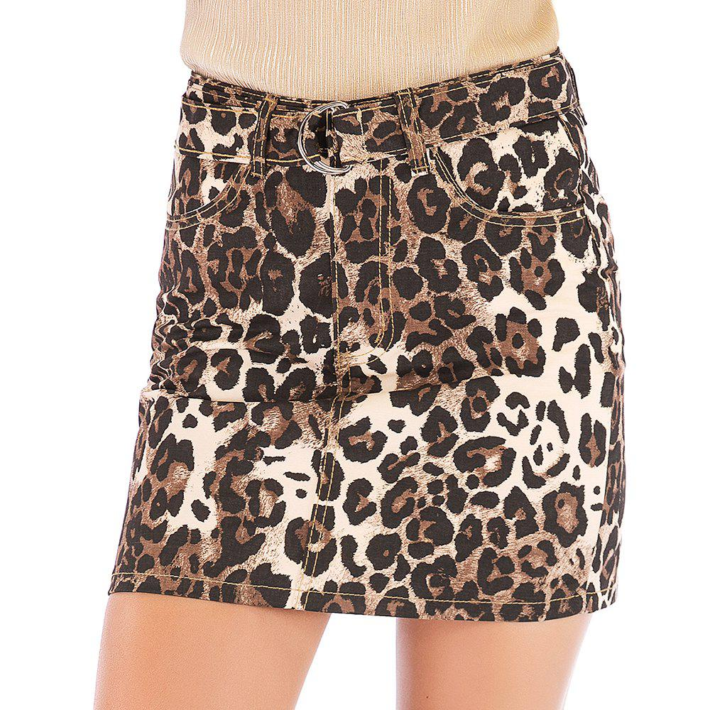 Chic European and American Fashion Sexy Leopard Skirt
