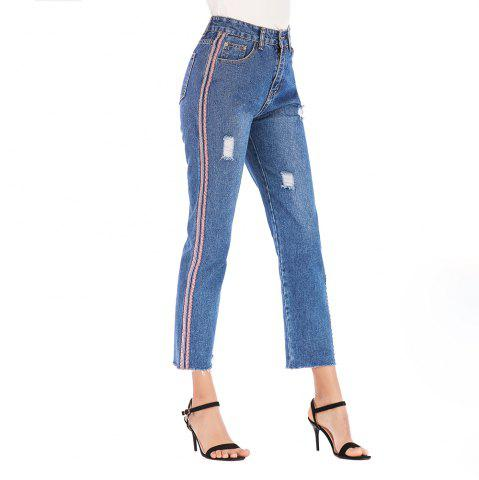 Jeans FemaleEurope and The United States New Slim High Waist Pants Webbing