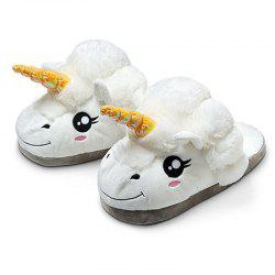 Cartoon Unicorn Slippers Winter Home Warm Plush Cotton Slipper -