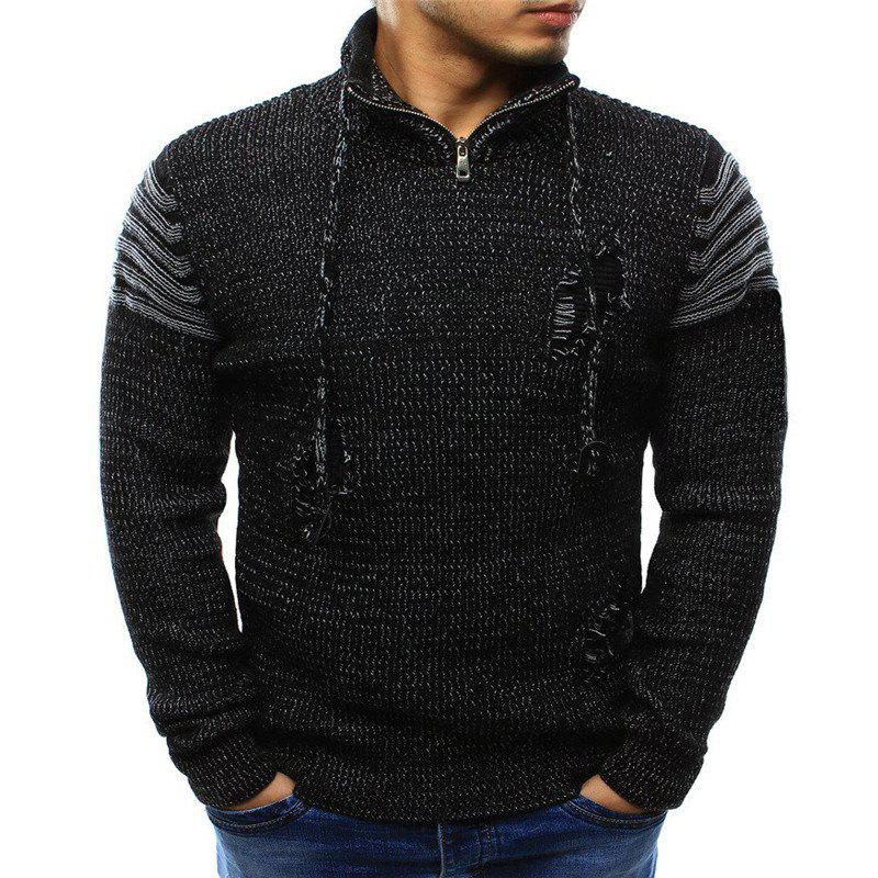 Outfit 2018 Men'S Zipper Hole Knitted Sweater