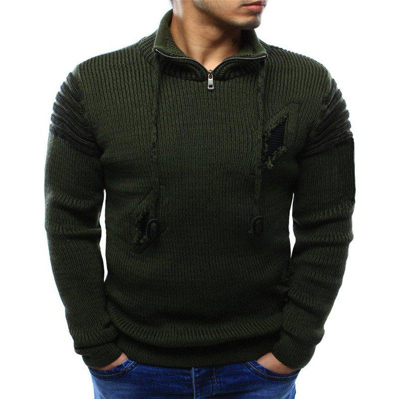 Chic 2018 Men'S Zipper Hole Knitted Sweater