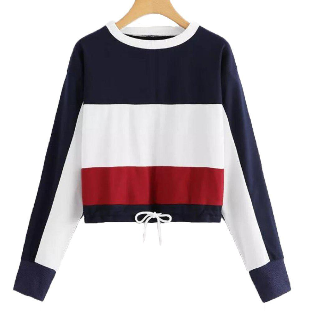 297db51c8a5 Latest Women s Round Collar Long Sleeve Short Sweatshirt