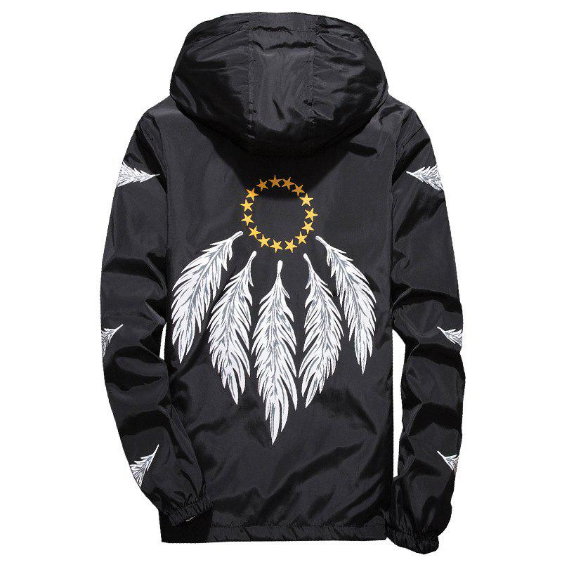 Store Embroidered Feather Men's Hooded Multi-Color Windproof Jacket