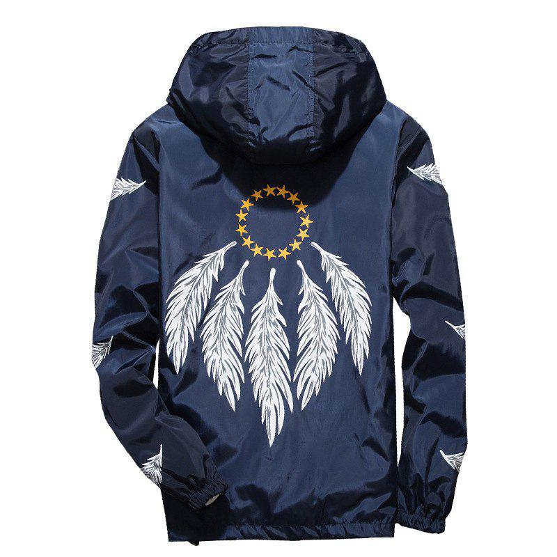 Affordable Embroidered Feather Men's Hooded Multi-Color Windproof Jacket