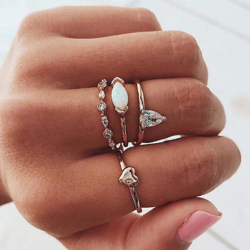4 Pcs/Set Classic Silver Color Opal Crystal Heart Rings