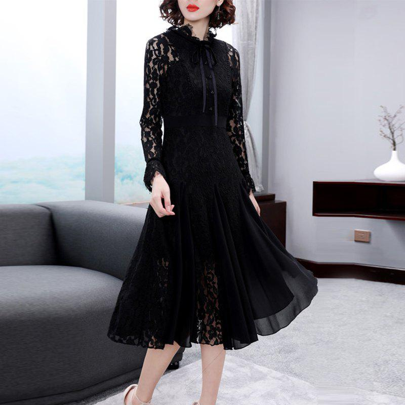 Online Fashion Trim Lace Pleats swaggering Dresses