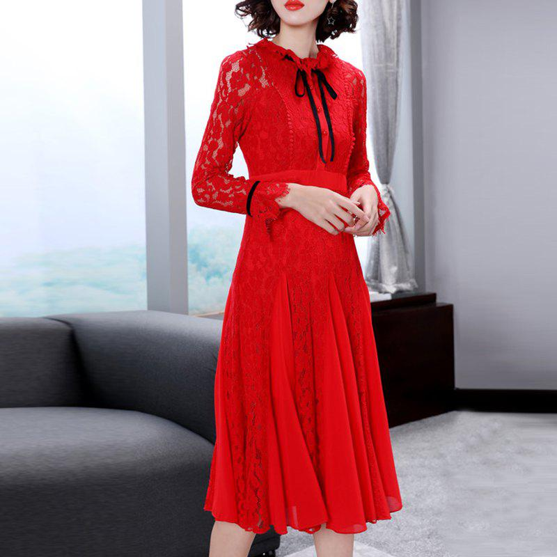 Discount Fashion Trim Lace Pleats swaggering Dresses