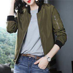 Fashion Collar Neckwear Zip Coat Jacket -