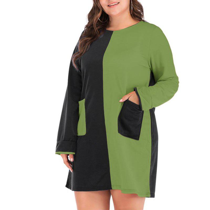 Best Round Collar Long Sleeve Splicing Casual Dress