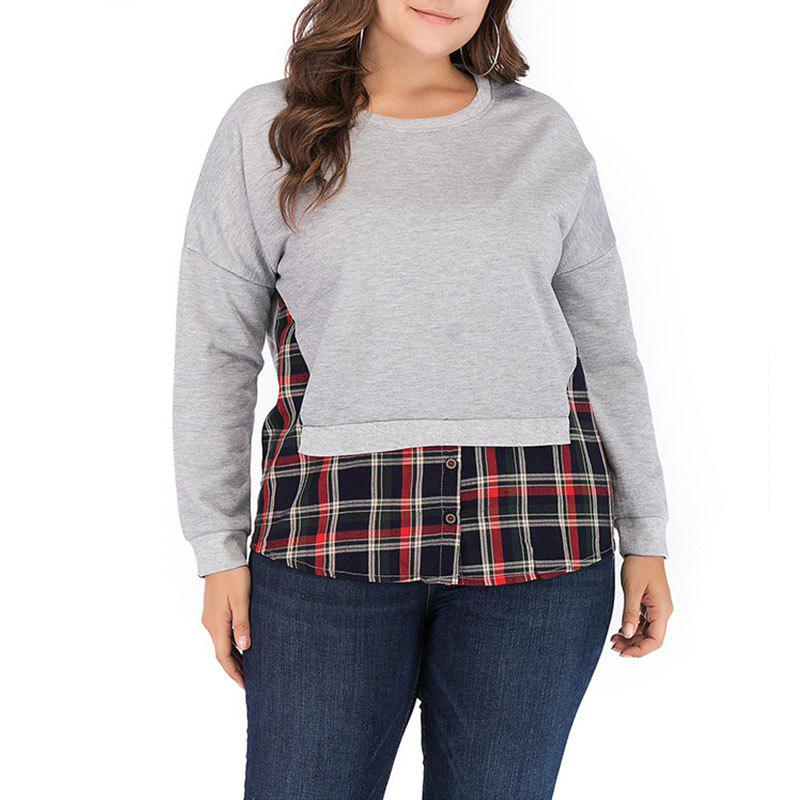 Outfits Plaid Splicing Round Collar Long Sleeve Fleece