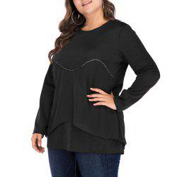 Round Collar Long Sleeve Splicing Casual T Shirt -