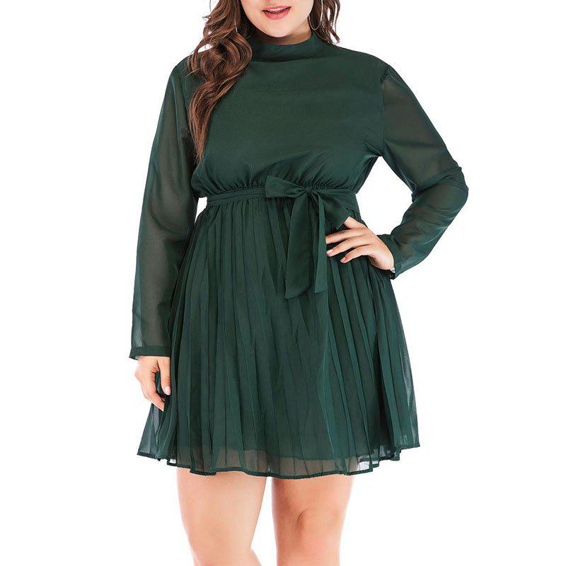 Best Solid Color Stand Collar Pleated Dress