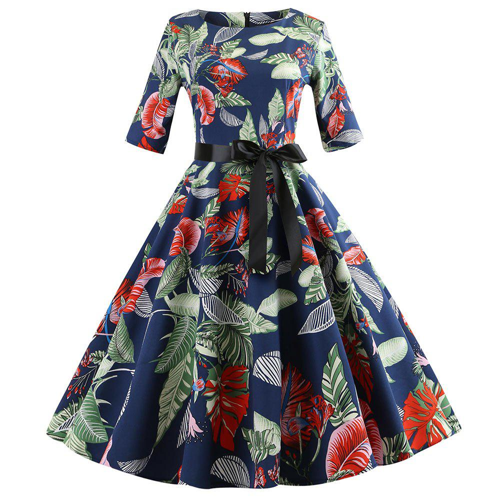 Outfits Round-collar  Printing Flowery Dress