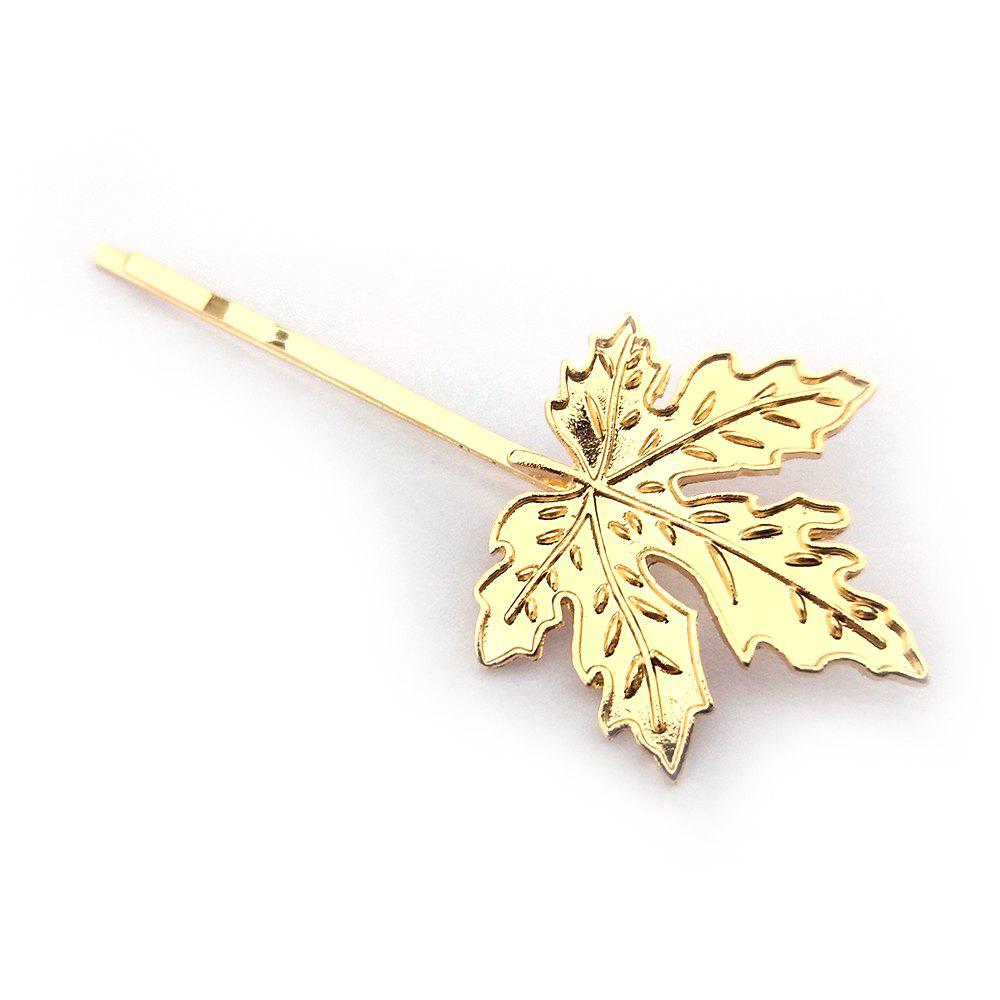 Latest Creative and Simple Maple Leaf Hairpin Gold and Silver