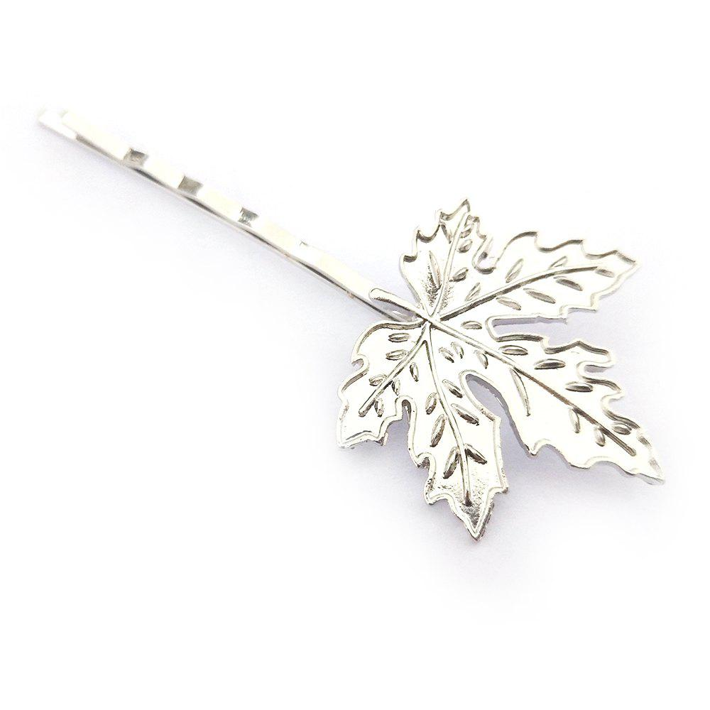 Online Creative and Simple Maple Leaf Hairpin Gold and Silver