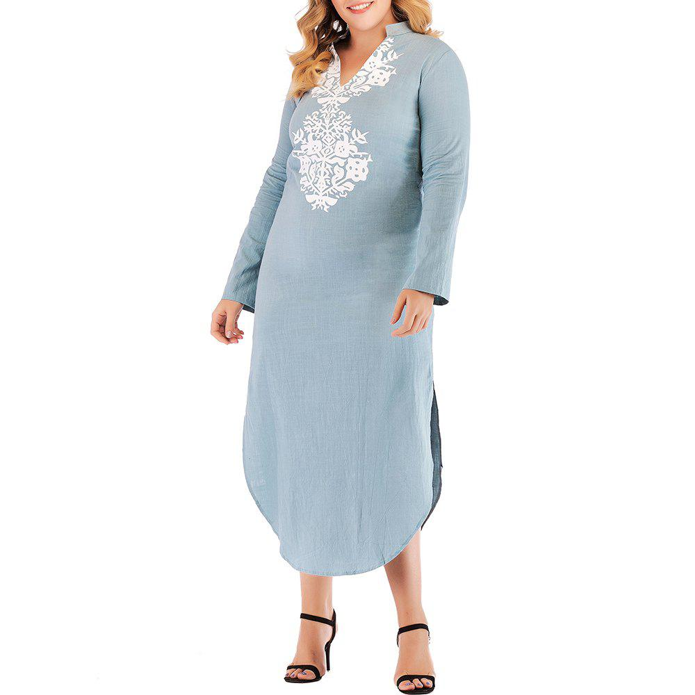 Cheap Large Size Women's V-Neck Loose Printed Long-Sleeved Dress