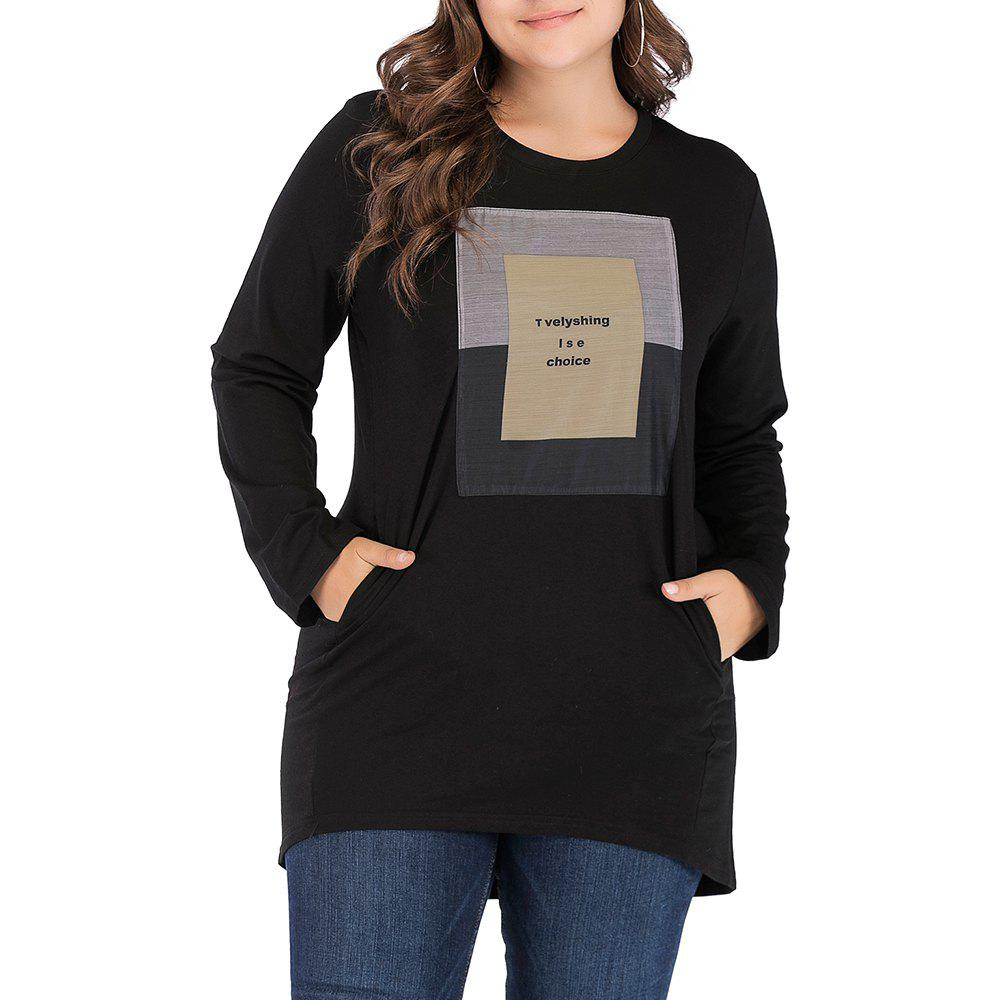 Chic Large Size Women's Casual Round Neck Loose Collage Long T-Shirt