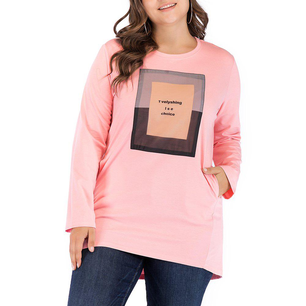 Online Large Size Women's Casual Round Neck Loose Collage Long T-Shirt