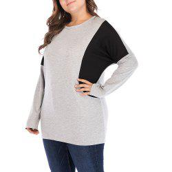 Large Size Women's Bat Sleeve Long Sleeve Loose Contrast Color Casual T-Shirt -