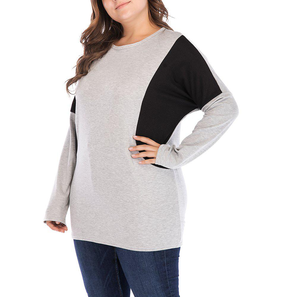Fashion Large Size Women's Bat Sleeve Long Sleeve Loose Contrast Color Casual T-Shirt