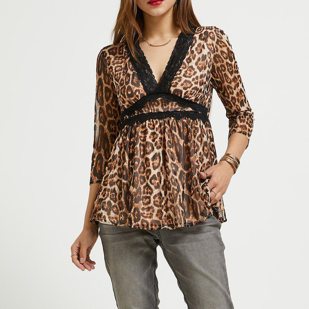 a24b5131d52 Chic SBETRO Leopard Chiffon Blouse Deep V Neck 3/4 Sleeve Pleated Tunic Top