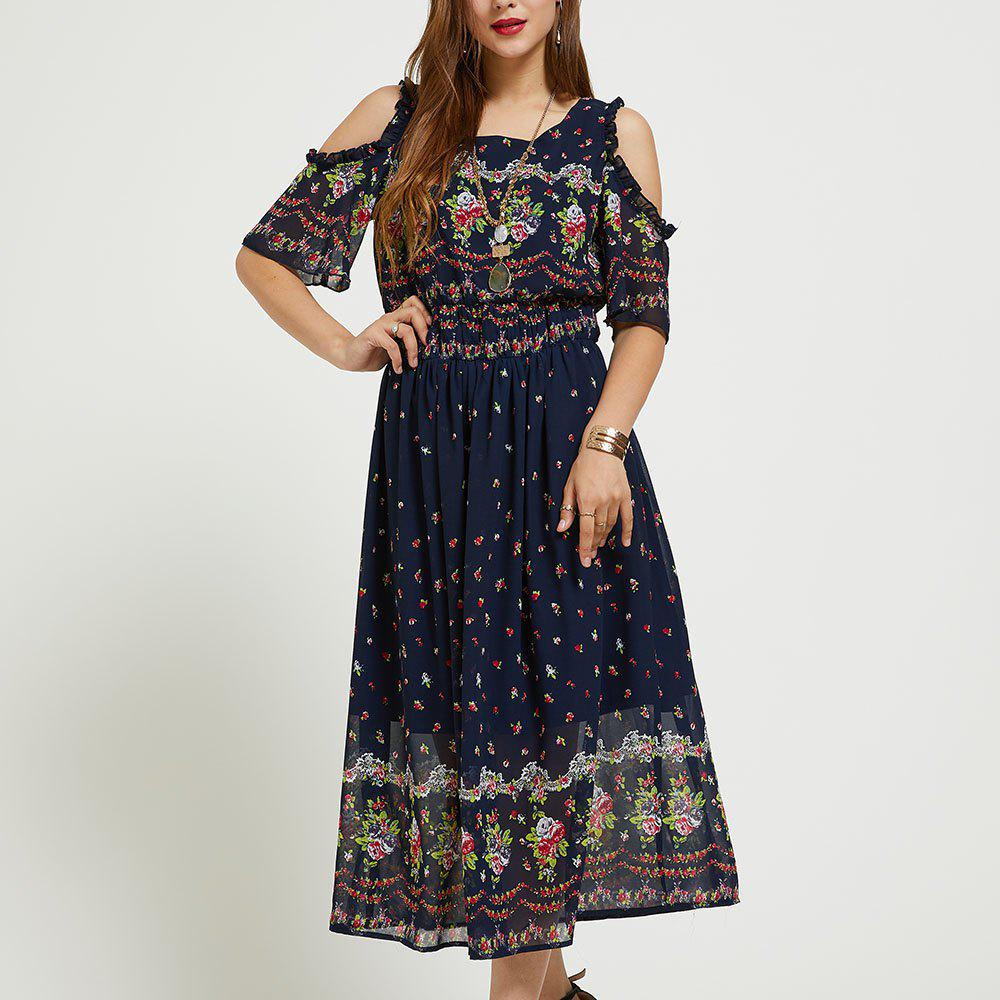 Sale SBETRO Printed Floral Dress Ankle Length Chiffon Scoopneck Cold Shoulder Ruffle
