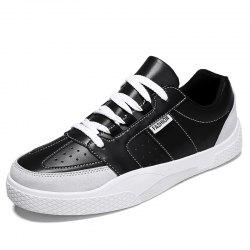 Men Trend Thick-Soled Leather Casual Skate Shoes -