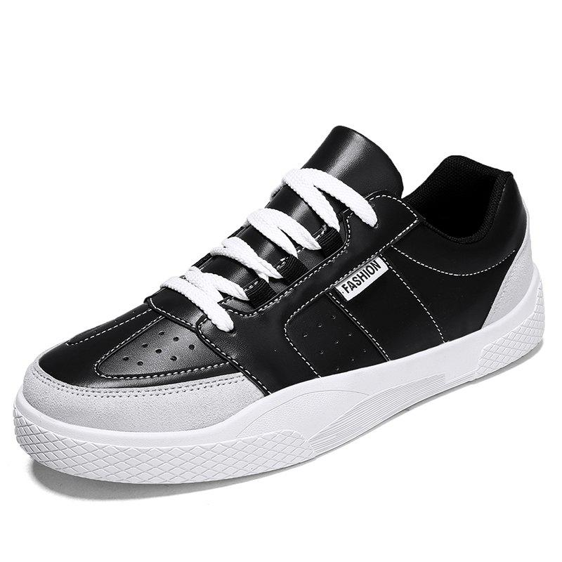 Discount Men Trend Thick-Soled Leather Casual Skate Shoes