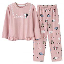 Pajama Suit Women'S Long-Sleeved Trousers Round Neck Sweet Home Clothes -
