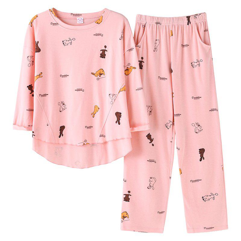 Discount Sweet Long Sleeve Small Animal Pajamas Home Clothing Set Pink