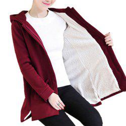Women's Quilted Coat Solid Color Split Hooded Loose Plus Size Fluffy Coat -