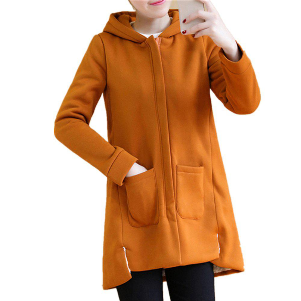 Shops Women's Quilted Coat Solid Color Split Hooded Loose Plus Size Fluffy Coat