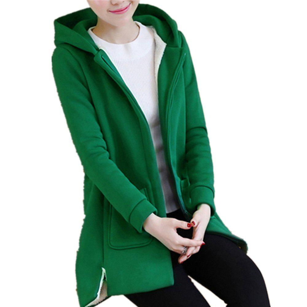 New Women's Quilted Coat Solid Color Split Hooded Loose Plus Size Fluffy Coat