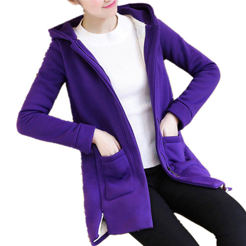 Fashion Women's Quilted Coat Solid Color Split Hooded Loose Plus Size Fluffy Coat