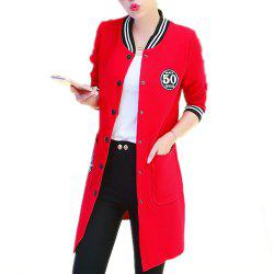 Women's Trench Coat Applique Single Breasted Plus Size Bomber Jacket -