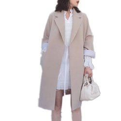 Women's Trench Coat Solid Color Long Sleeve Notched Collar Stylish Coat -