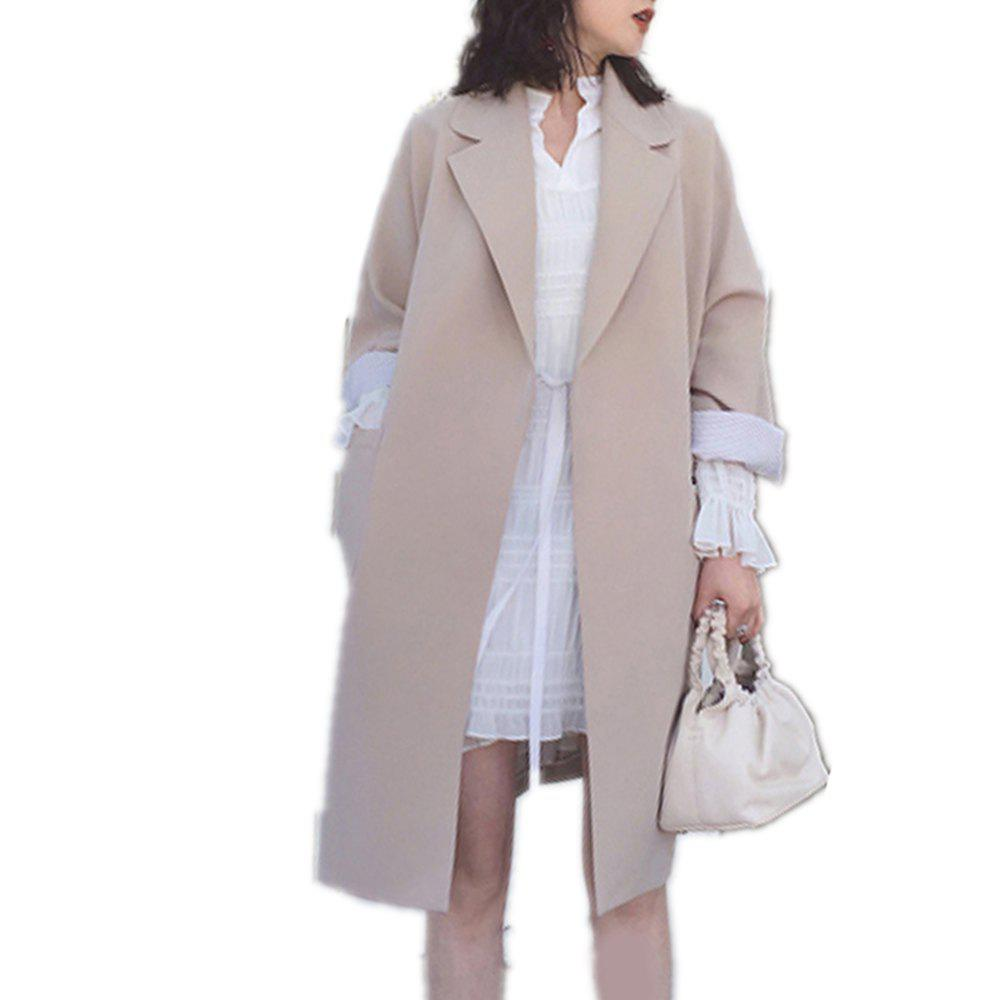 Cheap Women's Trench Coat Solid Color Long Sleeve Notched Collar Stylish Coat