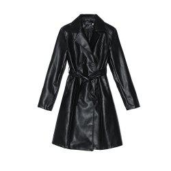 The Medium and Long PU Leather Trench Coat Is Slim and Slim -