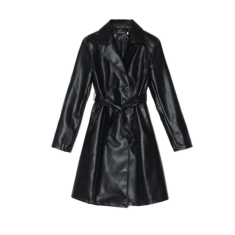 Buy The Medium and Long PU Leather Trench Coat Is Slim and Slim