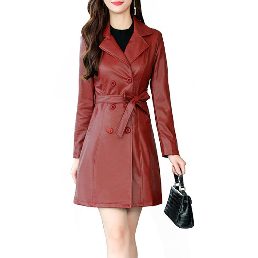 Cheap The Medium and Long PU Leather Trench Coat Is Slim and Slim