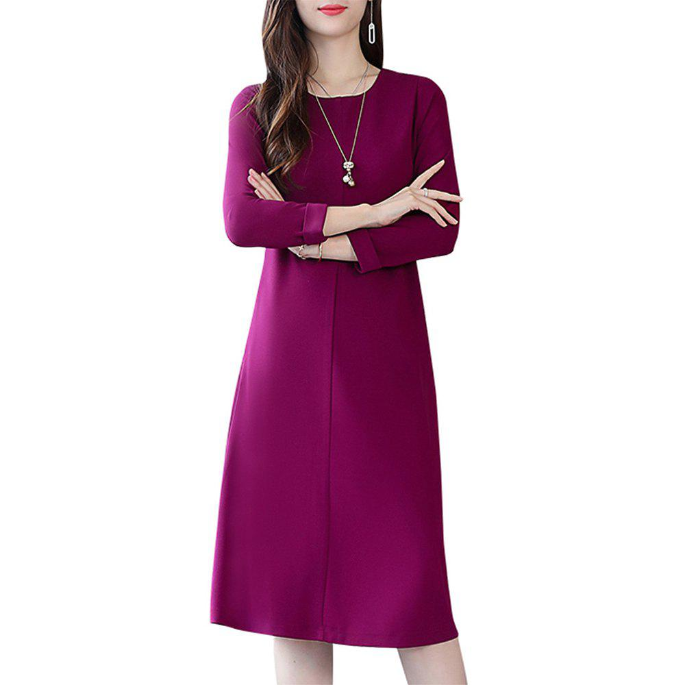 Fancy Medium and Long Solid Color Round Neck Base Dress