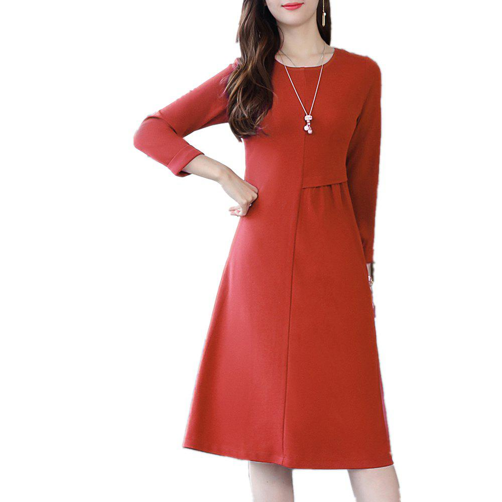 Outfits Medium and Long Solid Color Round Neck Base Dress