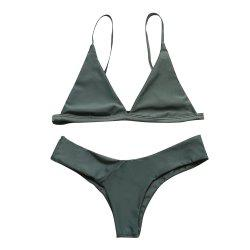 European and American Women Sexy Solid Color Bikini Bathing Suit -