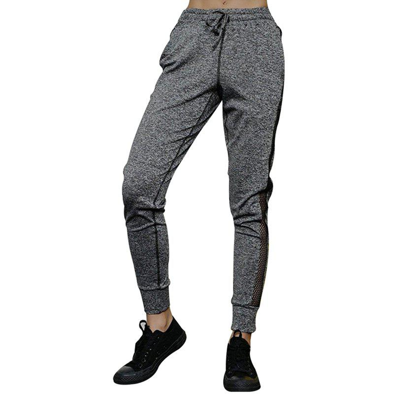 Outfit Women'S Training Pants Solid Color Mesh Patchwork Yoga Shorts