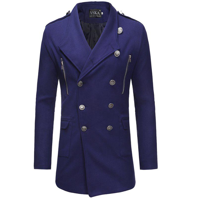 Discount 2018 New Double-Breasted Large Lapel Men'S Casual Slim Long Woolen Trench Coat
