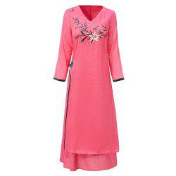 UILY 2019 New Fashion Flower Embroidery Shina Chinese National Style Dress -