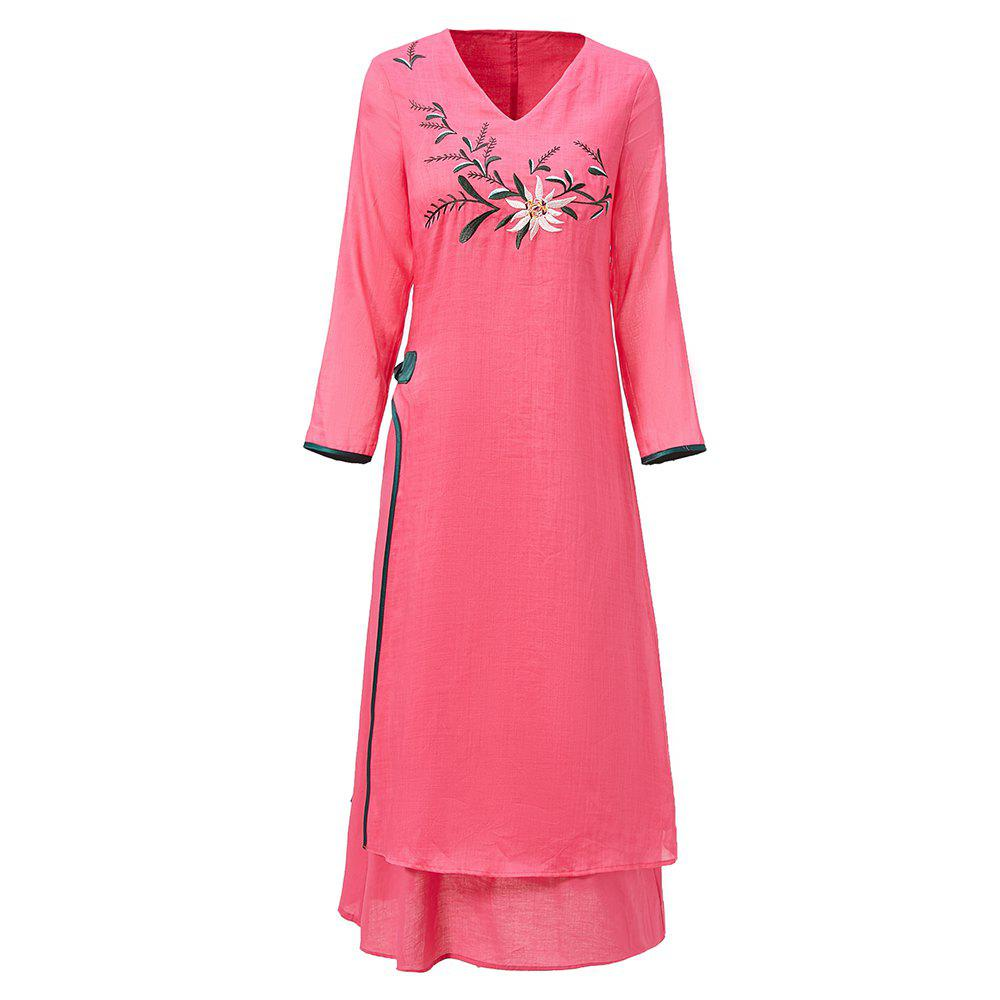 Online UILY 2019 New Fashion Flower Embroidery Shina Chinese National Style Dress